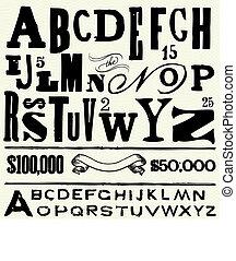 antigas, vetorial, tipo, alfabeto