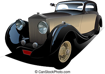 antigas, vindima, carro., colorido, vetorial, ilustração,...