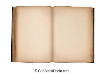 antigas, vindima, isolado, livro, em branco, branca, abertos, páginas
