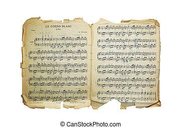 antigas, vindima, notas, isolado, papel, música, tellam,...