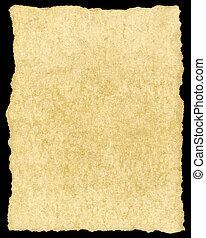 antigas, vindima, rasgado, isolado, papel, amarelando, black.