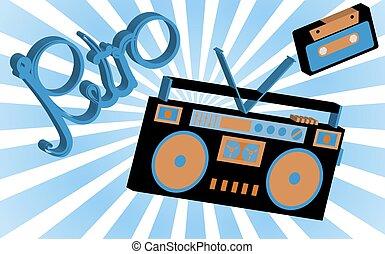 antigas, vindima, retro, hippies, é, um, elegante, isometric, música, áudio, registrador, para, escutar, para, cassetes áudio, de, a, 70's, 80's, 90's, contra, a, fundo, de, solar, abstratos, rays., vetorial, ilustração
