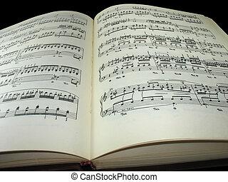 antigas, vindima, sobre, livro, música, fundo, folha, pretas
