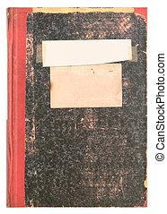 antigas, vindima, -, superfície, etiqueta, livro, diário, grainy, ou, vazio
