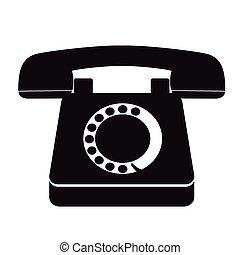 antigas, vindima, telefone, único, pretas, ícone