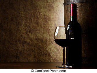 antigas, vinho vidro, barril, garrafa, vermelho