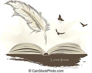 antigas, voando, pintura, livro, pena, abertos, pássaros