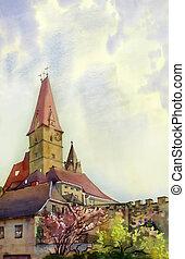 antigas, weisskirchen, aquarela, áustria, torre, quadro