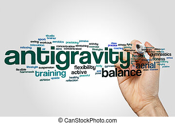 Antigravity word cloud concept on grey background