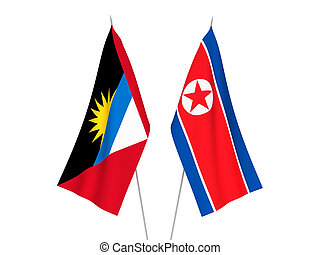 Antigua and Barbuda and North Korea flags - National fabric ...