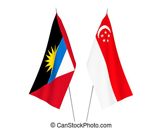 Antigua and Barbuda and Singapore flags - National fabric ...