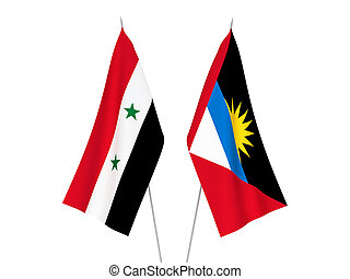 Antigua and Barbuda and Syria flags - National fabric flags ...