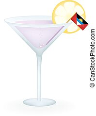 Antigua And Barbuda Cocktail - Cocktail with a flag of...