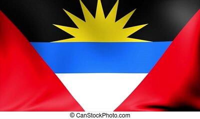 Antigua and Barbuda Flag. Background Seamless Looping Animation.