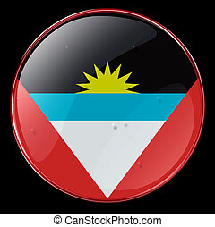 Antigua and Barbuda Flag Button, isolated on black ...
