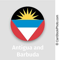 Antigua and Barbuda flag, round icon with shadow isolated...