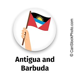 Antigua and Barbuda flag in hand, round icon with shadow...
