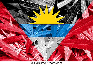 Antigua and Barbuda Flag on cannabis background. Drug policy...