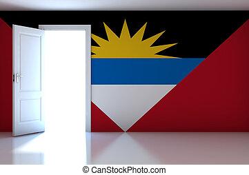 Antigua and Barbuda flag on empty room