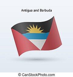 Antigua and Barbuda flag waving form. - Antigua and Barbuda...