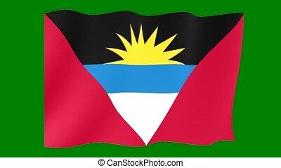 Antigua-and-Barbuda-flag. Waving.