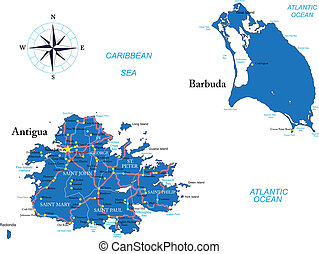 Antigua and Barbuda map - Highly detailed vector map of...