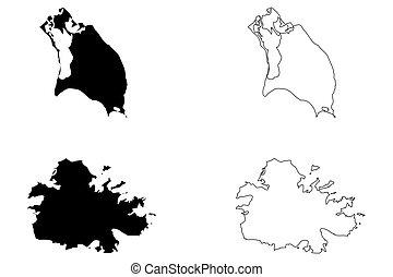 Antigua and Barbuda map vector illustration, scribble sketch...