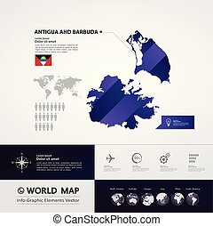 Antigua and Barbuda Map vector