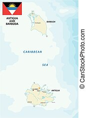 antigua and barbuda map with flag