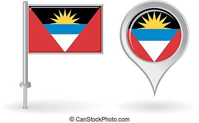 Antigua and Barbuda pin icon, map pointer flag. Vector...