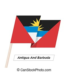 Antigua And Barbuda Ribbon Waving Flag Isolated on White. ...