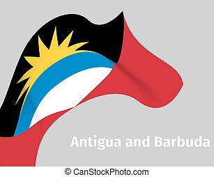 Antigua and Barbuda wavy flag background - Background with...