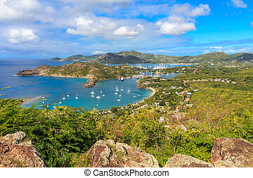 Antigua Bay, view from Shirely Heights, Antigua, West Indies, Caribbean