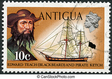ANTIGUA - CIRCA 1970: A stamp printed in Antigua shows Blackbeard (Edward Teach) and pirate ketch, circa 1970