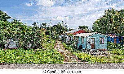 antigua, huizen, typisch, barbuda