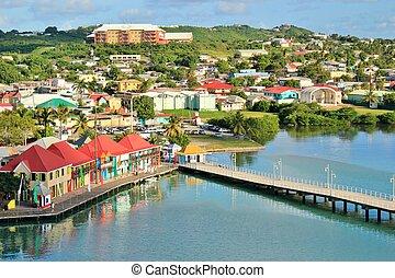Antigua views 1 - View of St. John the capital of Antigua