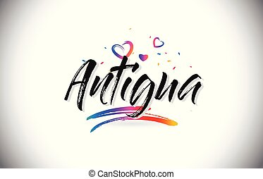 Antigua Welcome To Word Text with Love Hearts and Creative Handwritten Font Design Vector.
