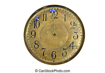 antigue brass clock dial with cornflowers arrows isolated on white