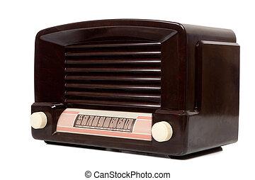 Antigue Radio - A vintage antique radio on a white ...