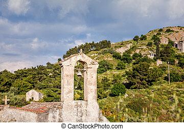 antiguo, aegina, palaia, chora, grecia, iglesias
