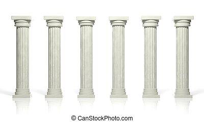 antiguo, aislado, pilares, mármol blanco, fila