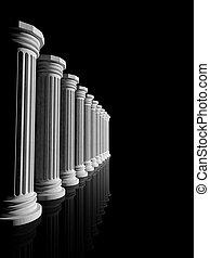 antiguo, aislado, pilares, negro, mármol blanco, fila