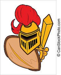 antiguo, armadura, mascota, ilustración