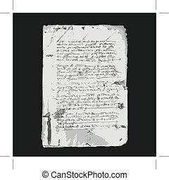 antiguo, carta, en, viejo, grunge, papel, para, su, diseño