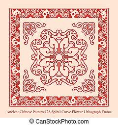 antiguo, chino, patrón, marco, curva, espiral, litografía, ...