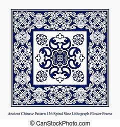 antiguo, chino, patrón, marco, vid, espiral, litografía, ...