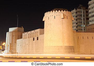 antiguo, ciudad, árabe, unido, emiratos, sharjah, fortaleza