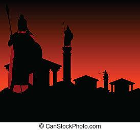 antiguo, ciudad, con, guardián