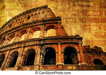 antiguo, coliseo, textura, roma
