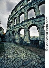 antiguo, coloseum, anfiteatro, pula, romano, croacia